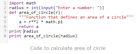 python code for area of circle